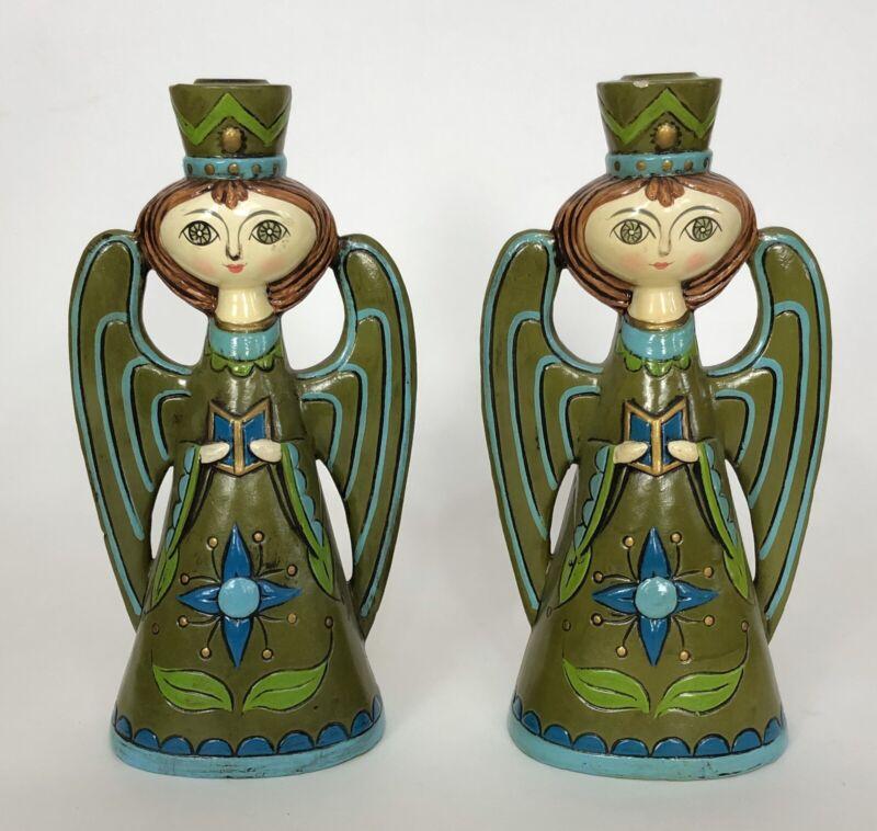 "2 Vintage 1960s Paper Mache Big Eye Angel Green Candle Holders Pair 10"""