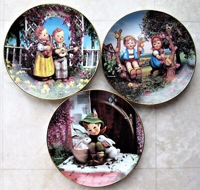 Three Hummel Plates Apple Tree Gentle Friends Little Musicians Mint