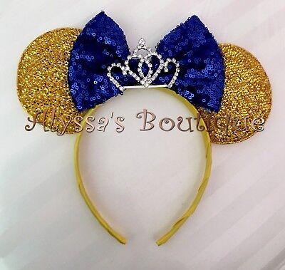 NEW Princess Minnie Mouse Tiara Ears Headband Shiny Gold Sparkly Blue Sequin Bow Gold Sequin Tiara