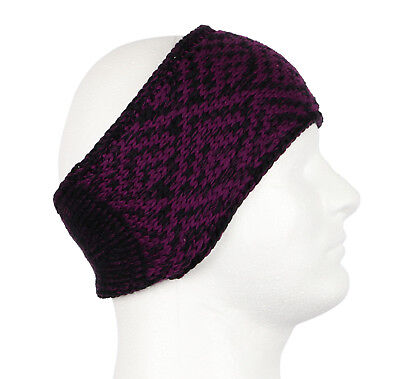 ADIDAS Women's Holiday II Knit Headband One Size Purple Black Button Closure
