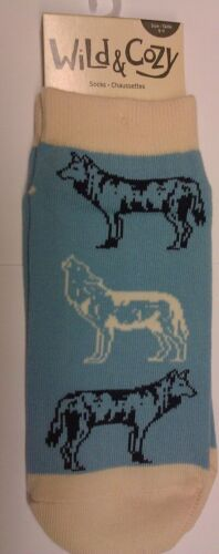 New Wild & Cozy Wolf Socks - adult sizes 9-11  - non slip wording Wild At Heart