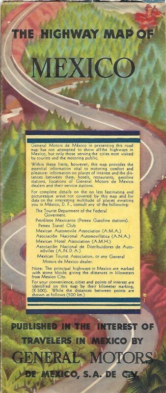 1940 GENERAL MOTORS Pictorial Road Map MEXICO Chevrolet Truck Dealer Directory