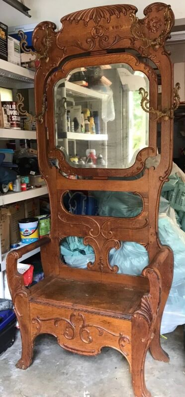 "Antique Oak Hall Tree Beveled Mirror 1900 Lovely Carving 82"" Tall Local PickUp"