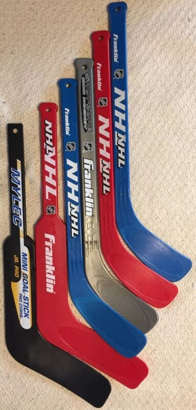 FRANKLIN SHOT ZONE NHL LOT OF 6 KNEE HOCKEY FLOOR MINI STICKS & MYLEC GOALIE