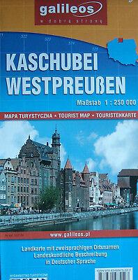 Touristenkarte Kaschubei Westpreußen, 1:250000. Sehenswürdigkeiten mit Fotos.Neu