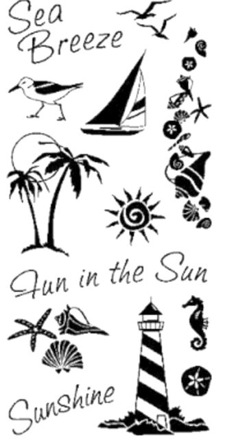 INKADINKADO clear cling stamps COASTAL for Card making, stamping & papercraft