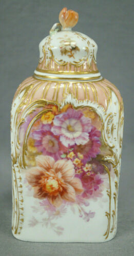 KPM Berlin Hand Painted Weichmalerei Flowers Pink & Raised Gold Tea Caddy