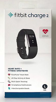 BRAND NEW Free Shipping Fitbit Charge 2 Black Large Activity Tracker - FB407SBKL