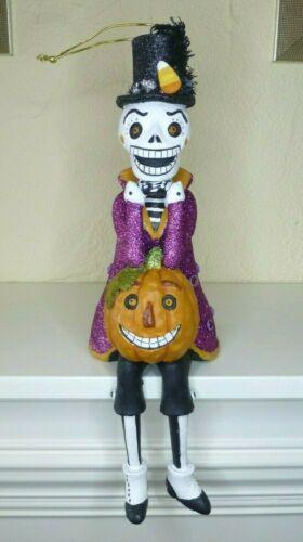"Skeleton Pumpkin Halloween Figurine Shelf Sitter Sugar Skull Style 14"" Long"