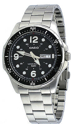 Casio Mtd100d 1A Mens Enticer Sports Stainless Steel Day Date Black Dial Watch