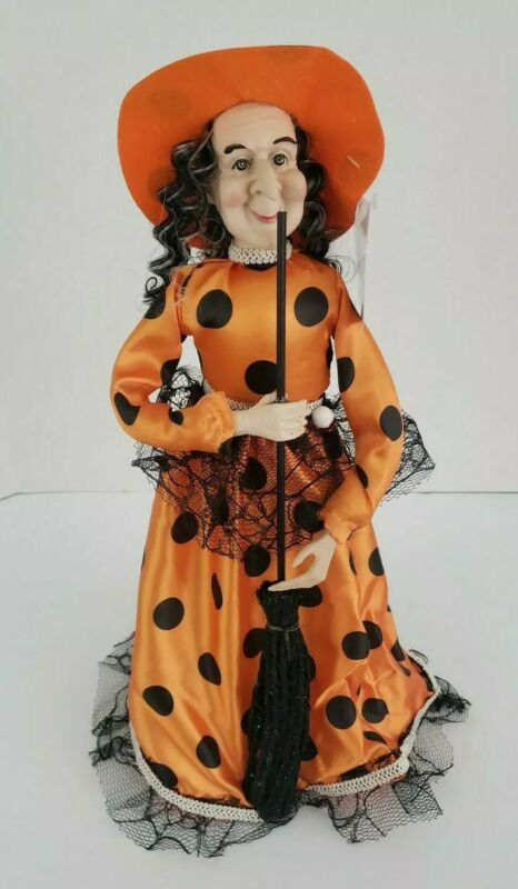 """Witch Halloween Decoration Tree Topper Orange Black Free Standing 15"""" Tall NEW"""