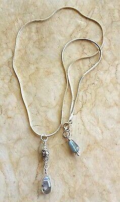 LABRADORITE Bali Bead Pendant Sterling Silver Snake Chain Necklace Sundance
