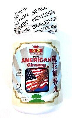 Pure American Panax Ginseng 500 Mg   1 X 50 Softgels Energy Royal King Brand