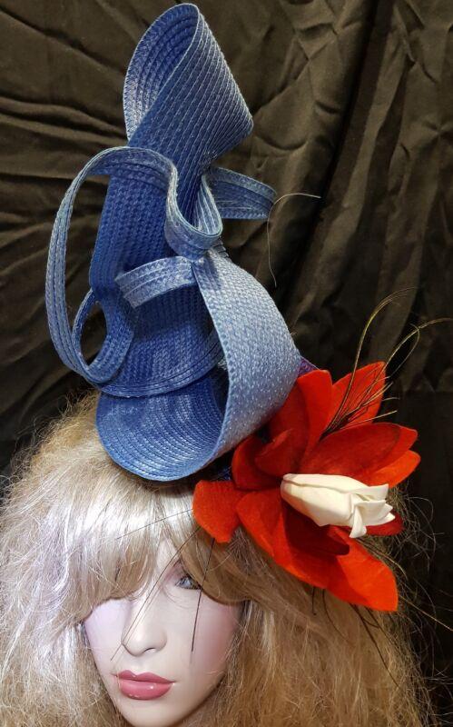 Fascinator hatinator hat races wedding blue - one off design