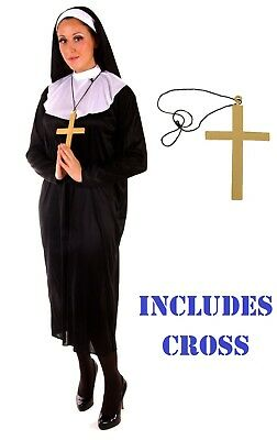 LADIES Womens NUN COSTUME Fancy Dress Costume Habit Sister Religion Holy Cross (Religionen Kostüme)