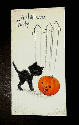 Vintage *UNUSED* Halloween Invitation: FLOCKED Kitten, J-O-L, Fence *Hallmark*