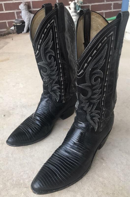 Men's Black Reptile Skin Cowboy Boots Made By Dan Post.