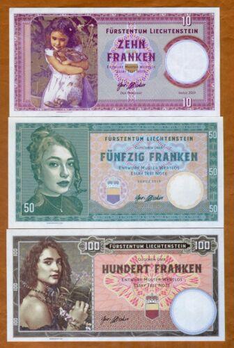 SET Liechtenstein, 5-50-100 Francs, 2019, Private issue, Matching S/Ns > Girl