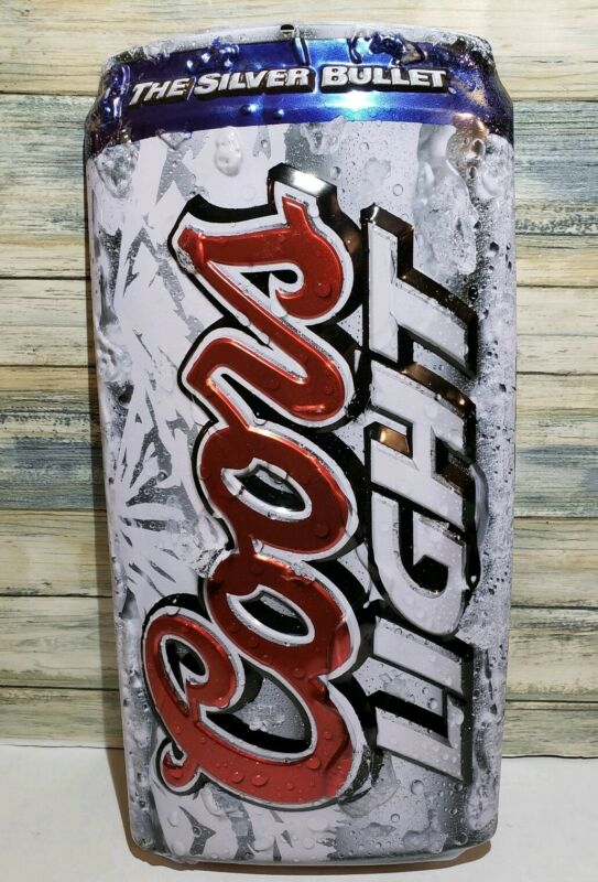 Coors Light Die Cut Can Embossed Metal Tin Beer Wall Sign
