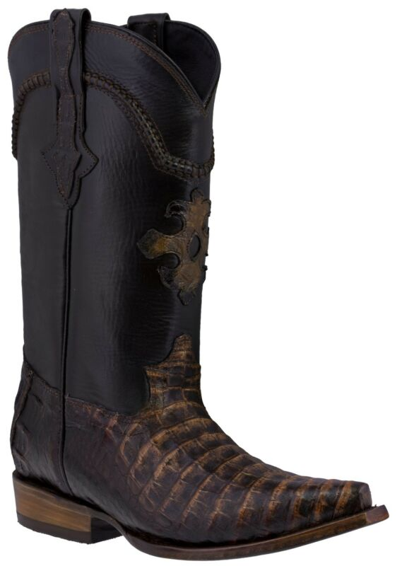 Mens, Rustic, Brown, Genuine, Crocodile, Belly, Skin, Leather, Cowboy, Boots, Snip, Toe