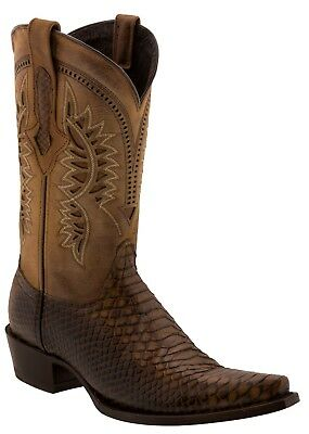 Mens Honey Brown Python Snake Pattern Leather Cowboy Boots C