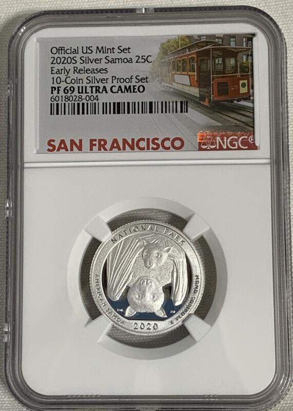 2020 S Silver Mint Set Quarter  American Samoa NP  NGC PF69 UC ER Trolley Car