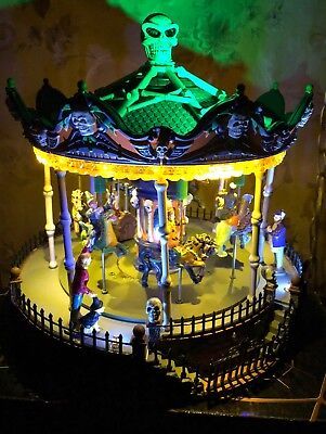 Lemax Spooky Merry Scary Go Round Carousel Carnival Halloween Animated Skull - Lemax Halloween Carnival