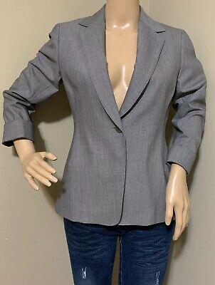 Lafayette 148 Women Jacket Size 2 Wool Silk Blazer One Button Gray Career Suit Wool Women Jacket