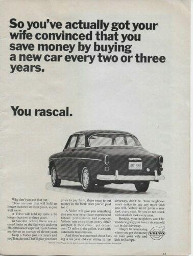 1966 Volvo 4 door Sedan Original Vintage Print Ad