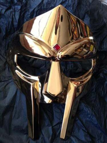 Medieval MF Doom Gladiator Mask Mad-villain Golden Finish Brass Face Armour
