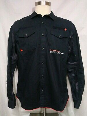 Superdry Rookie Edition Jacket Shirt Button Military Issue Navy Camo Size 3XL
