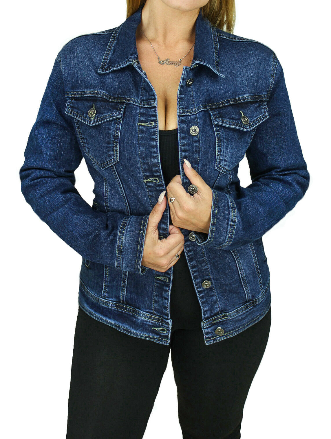 daa2bbfd16d7 Giacca giubbotto di jeans Diamond donna blu scuro Basic giubbino tessuto  denim