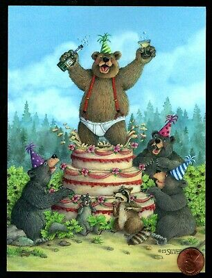Squirrel Cakes - Birthday Bears Raccoon Squirrel Cake By Jeffrey Severn Birthday - Greeting Card