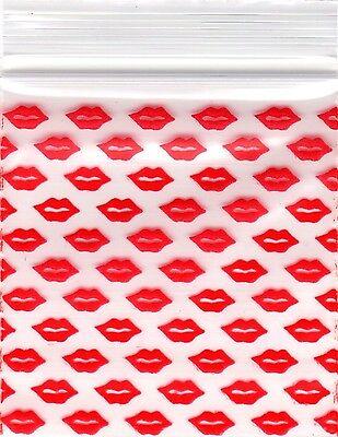 """Ziplock Baggies 2020 Apple 100 Mini ZIPLOCK Bags PRINTED Design 2""""X2"""" (LIP KISS) for sale  North Arlington"""