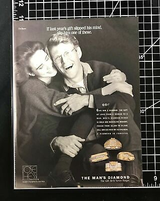 1992 DeBeers Jose Hess Diamond Jewelry for Men Vintage Print Ad