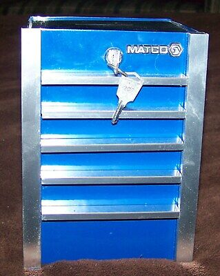Matco Tools blue mini tool box cabinet coin bank with key