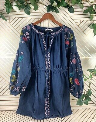 ZARA TRF Floral Keyhole Blue Dress Puff Balloon Sleeve Size M