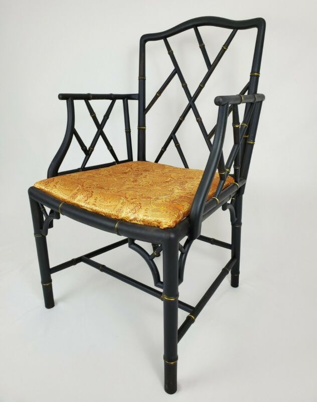 Vintage Faux Bamboo Regency Armchair Chinese Chippendale Early 1900