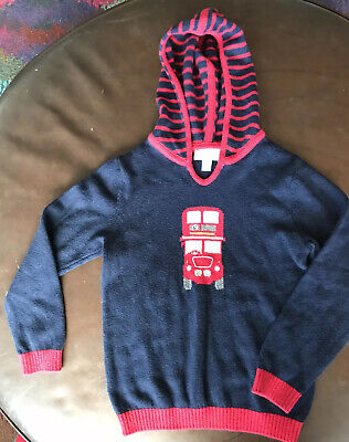 The little white company London boy Wool sweater cardigan Bus Hooded 5 6