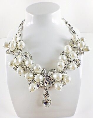 USA Quality NECKLACE Rhinestone Crystal Wedding Bridal Party Silver Pearl New 1