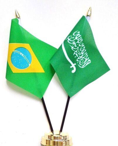 Brazil & Saudi Arabia Double Friendship Table Flag Set