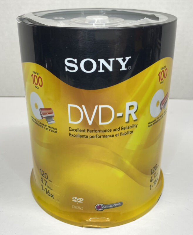 NEW Sony DVD-R 100 Pack AcuCORE 120 Minute 16X 4.7GB FACTORY SEALED Recordable