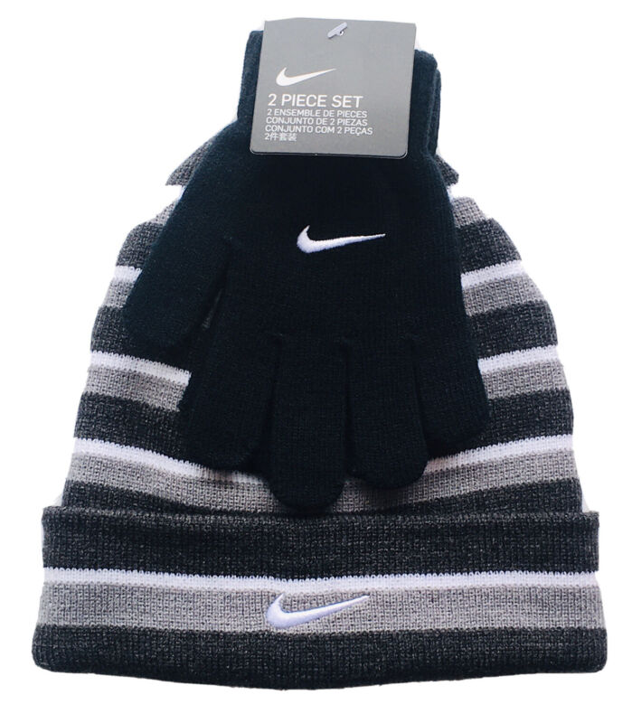 Nike Beanie Hat & Gloves Youth Boys Girls Futura Stripe Black Gray OS Set Of 2