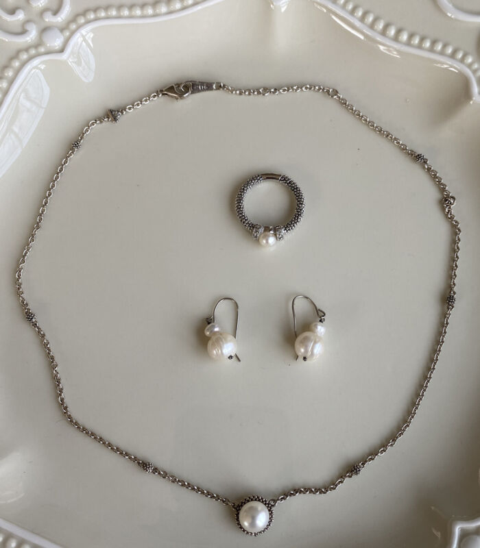 Lagos Pearl Pendant Caviar Bead Sterling Silver Necklace Plus Ring & Earrings