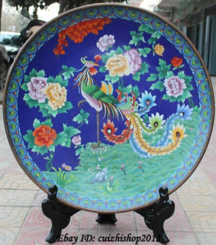 """39""""Cloisonne Enamel Animal Peacock Phoenix Flower Plate Tray Dish Folding Screen"""