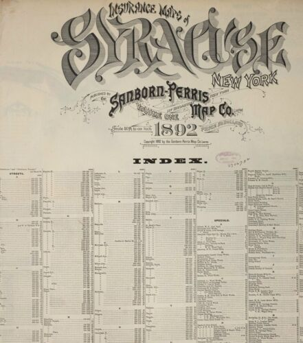 Syracuse,  New York~Sanborn Map©sheets ~78 maps full color made in 1892