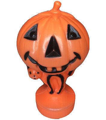Vintage Halloween Light - Up Plastic Blow Mold Jack-O-Lantern Pumpkin On Cat