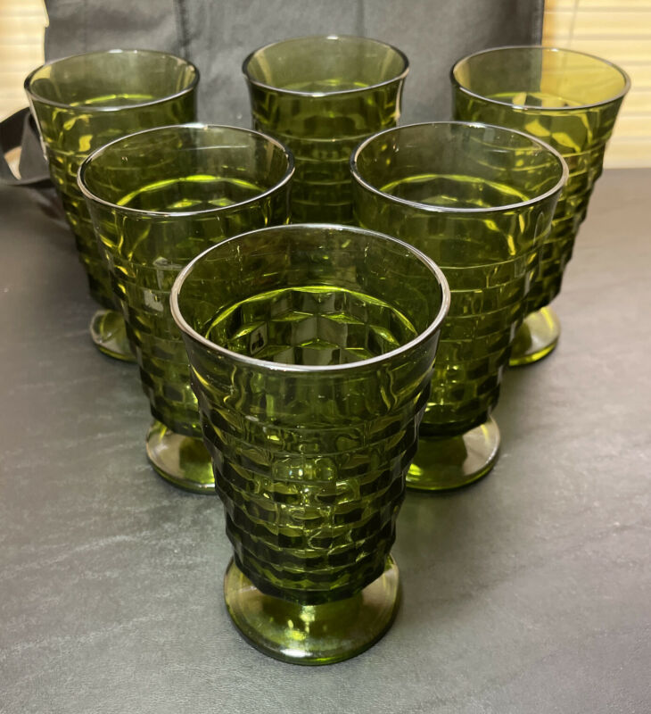 """SET (6) Vintage Green Cubist Indiana WHITEHALL Footed Glasses - 6"""" tall MCM"""