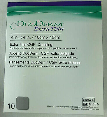 ConvaTec Duoderm Extra Thin CGF Dressing 4 X 4 Package of 10 187955 Expire 08/24 Duoderm Extra Thin Cgf Dressing