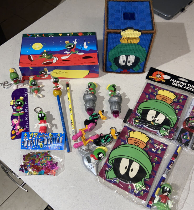 Marvin The Martian  mixed item lot pencil Box Pens pencils Keychain Tissue Box